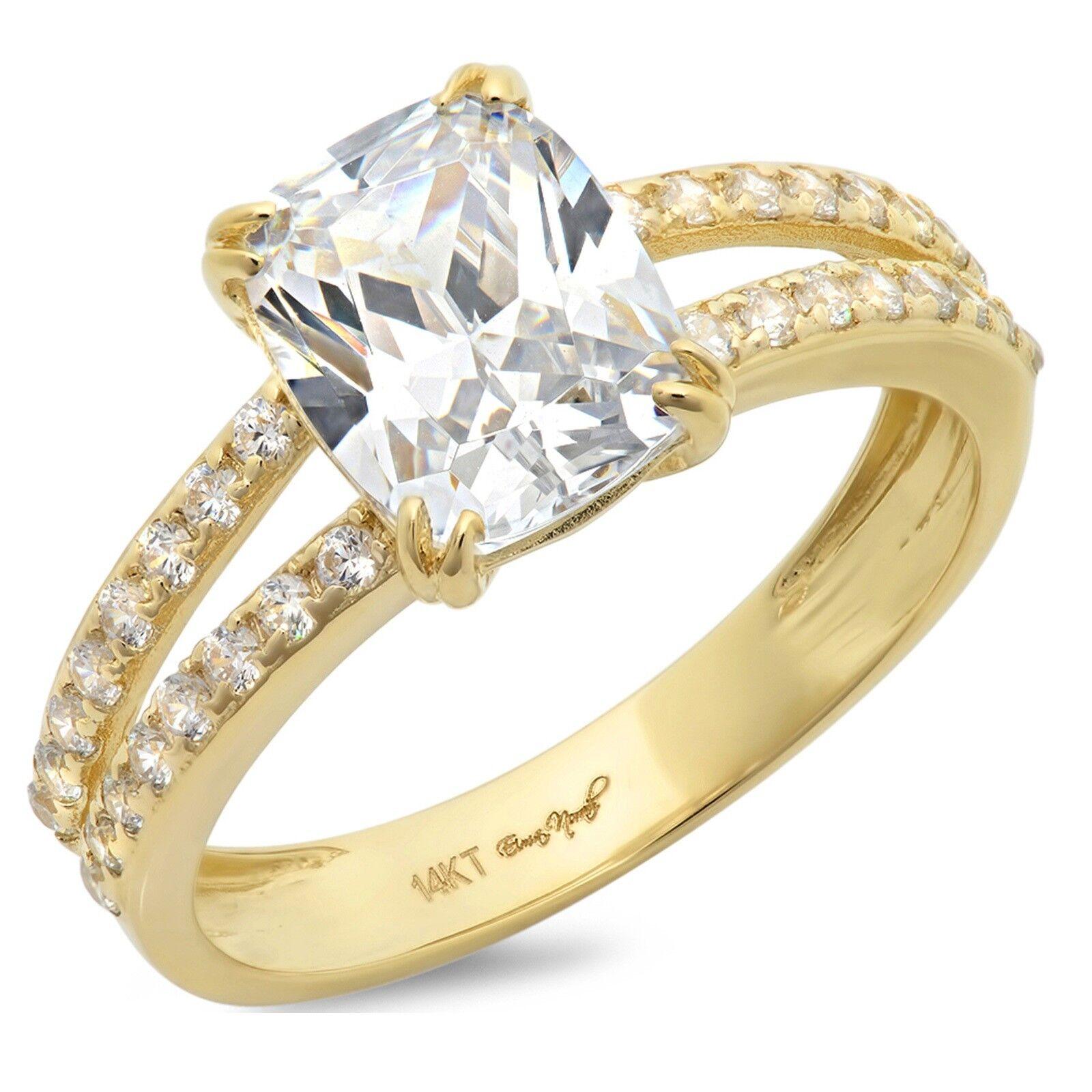 16b5d83e1452f Anniversary Engagement Bridal Wedding Cut Cushion 3.7ct Ring 14k ...