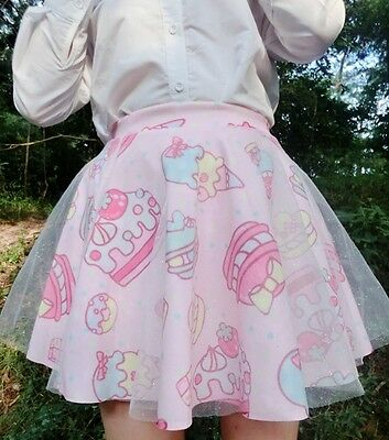 Harajuku Amo Doughnut Cake Ice Cream Pattern Skirts Short Dress Sweetheart Pink