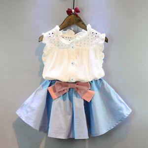 ba11dc70f Detalles de 2 Piezas Niños Vestido de Niña Trajes Suéter Camisa Lazo Falda  Corta Ropa Set