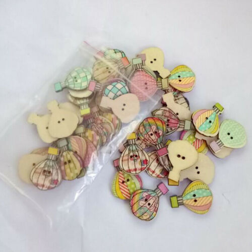 Wooden Hot Air Balloon Buttons Embellishment 2 Hole Packs of 50Pcs Craft Diy