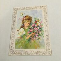 Vintage Greeting Card Get Well Birthday Girl Flowers