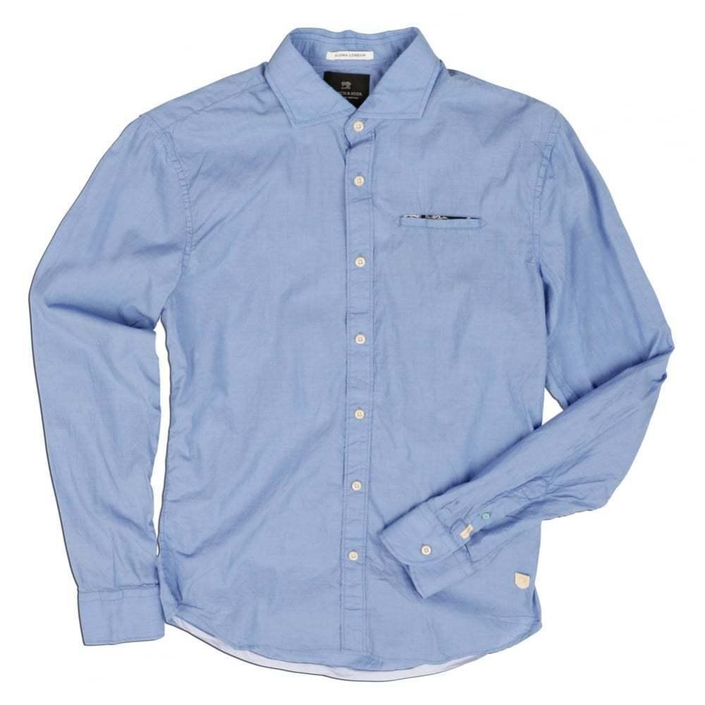 Scotch & Soda Electric bluee Long Sleeve Plain Shirt