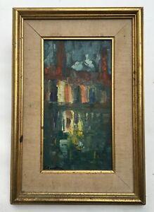Tableau moderne abstrait signé Emile Saadoun, Huile sur toile, Encadré, XXe