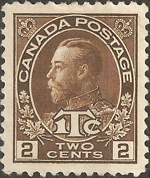 MH 1916 CANADA King George V. STAMP Two 2 Cents BROWN Tax NO GUM
