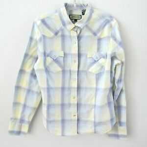 Shyanne-Western-Shirt-Size-Large-Pearl-Snap-Blue-Yellow-Plaid-Cotton-Button-Cuff