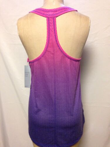 Ideology Dip-Dyed T-Back Chevron Print Tank Top Molten Pink Ombre 761053D250 NWT