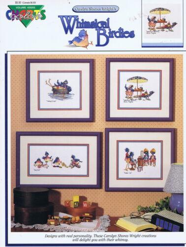 4 Diseños Whimsical Pajaritos Cross Stitch gráfico patrón