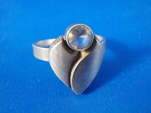 Sten-amp-LAINE-FINLANDE-design-anneau-argent-925-Cristal-de-roche-MODERNISTE-BOHO