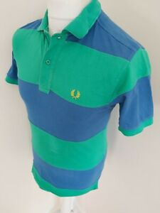 Mens-Fred-Perry-Colour-Block-Polo-Shirt-Green-Blue-Xs-36-Chest-Mod-Ska-Casuals
