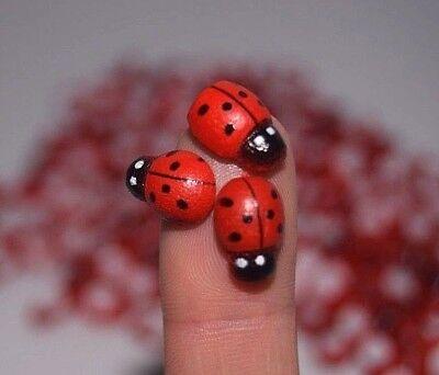 25 x Mini Self Adhesive Stick On Wooden Ladybird Craft Embellishments Scrapbook