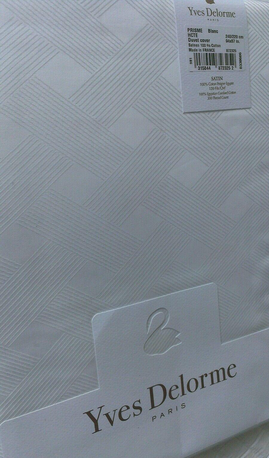 YVES DELORME PRISME white WHITE SATIN  Duvet Cover Set KING