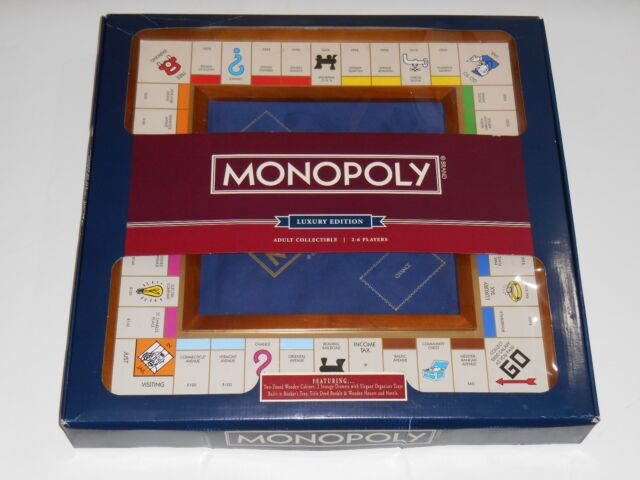 New 2016 MONOPOLY Luxury Edition Wood Box Classic Collectible Foil 3D Board Game