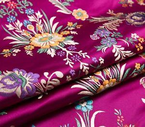 Retro-Chinese-Satin-Floral-Fabric-Begonia-Damask-Brocade-Sew-Bag-Clothes-Craft