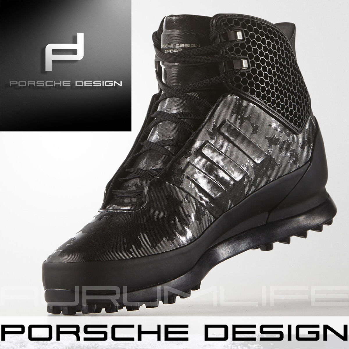 Adidas Porsche Design shoes Mens Winter Snow Bounce Tech Black Boot Size AQ3561