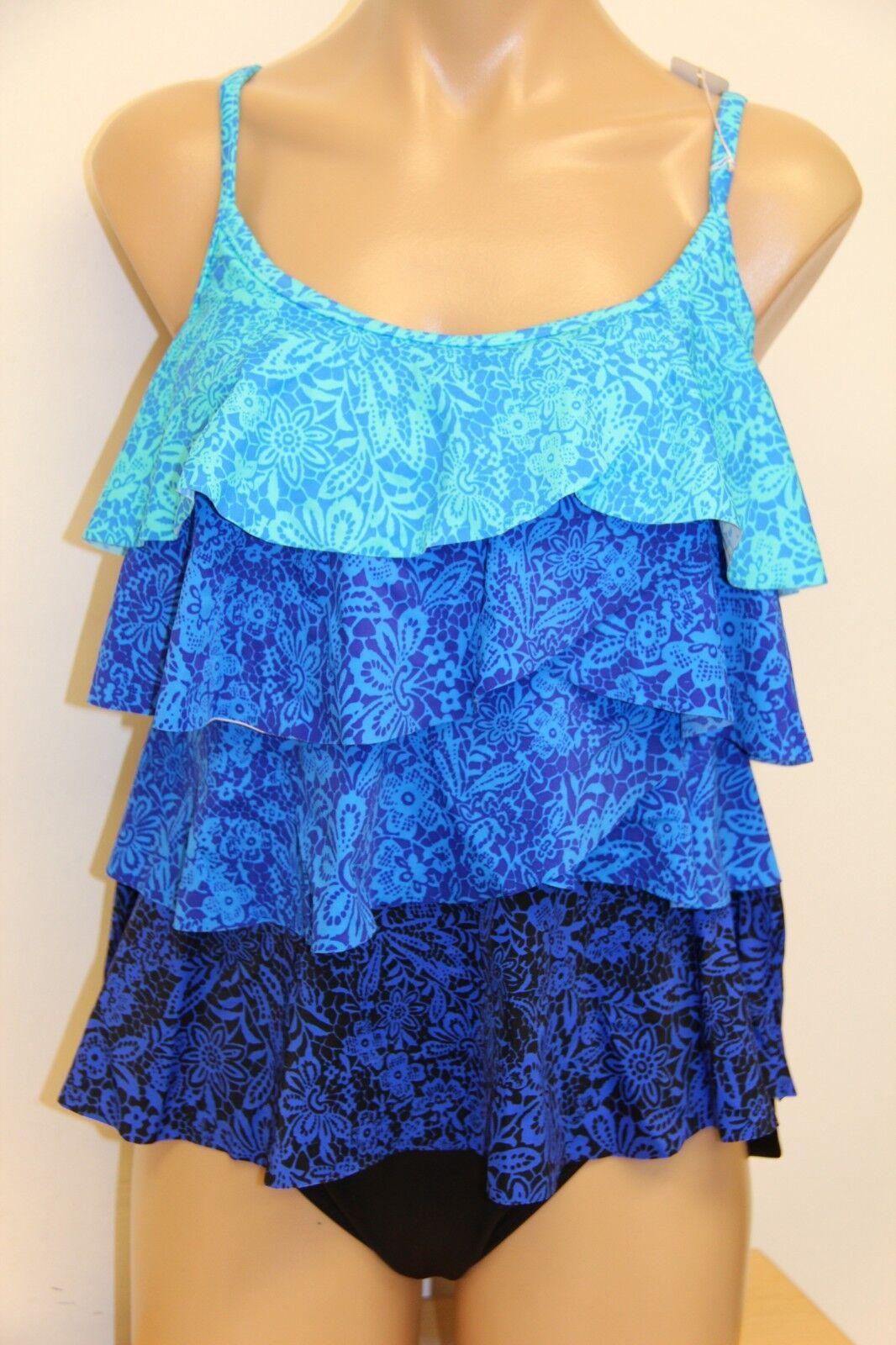 NWT Miraclesuit Swimsuit Tankini 2 pc set sz 6 8 bluee Basic Ruffles
