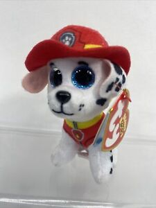 """Ty Beanie Boos- Paw Patrol Marshall the firefighter dalmation dog 4"""" Mint  2018"""
