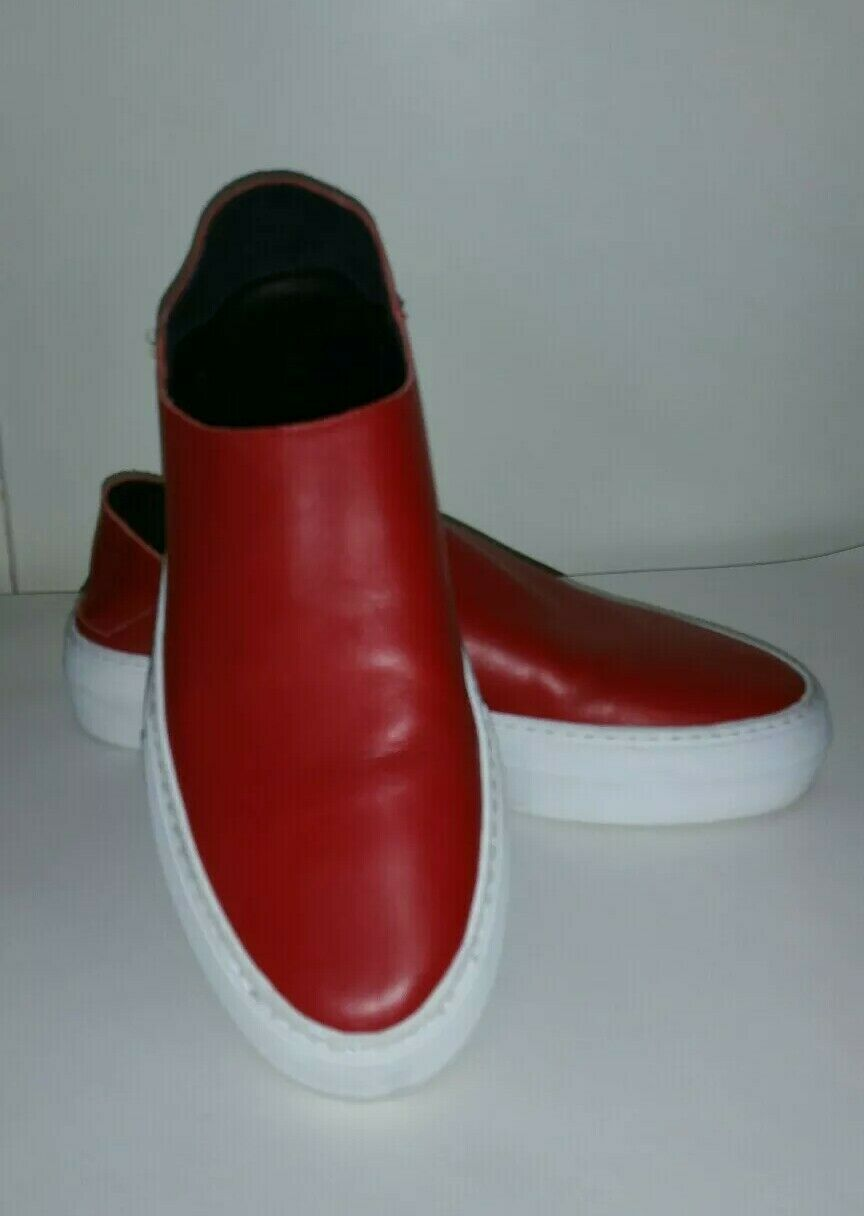 Tibi Red Slip Ons Sz 39 Leather Excellent Condition