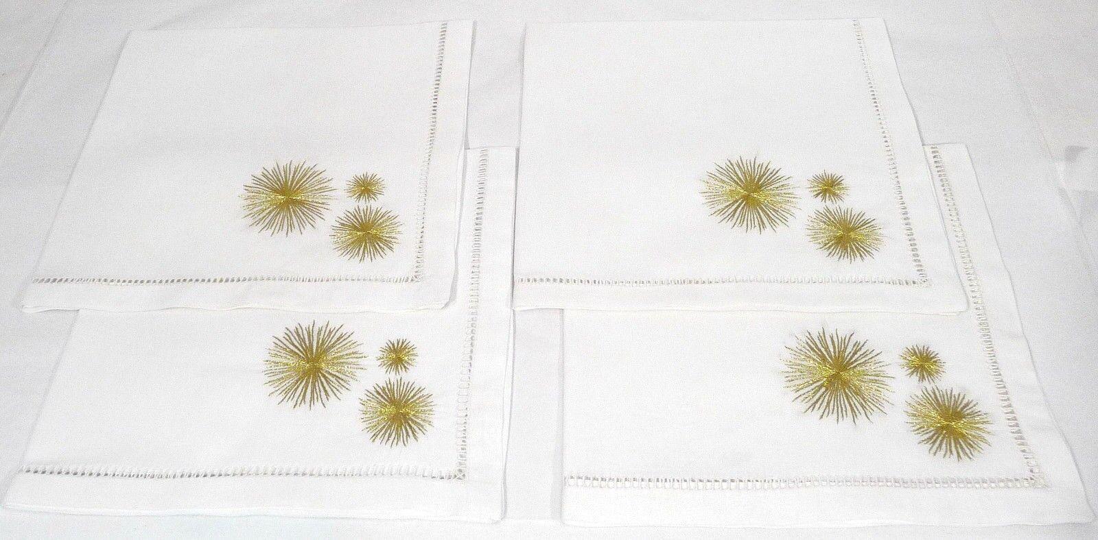 Dransfield & Ross Set de 4 étoile Brodé Serviettes Blanc Or 22  Square