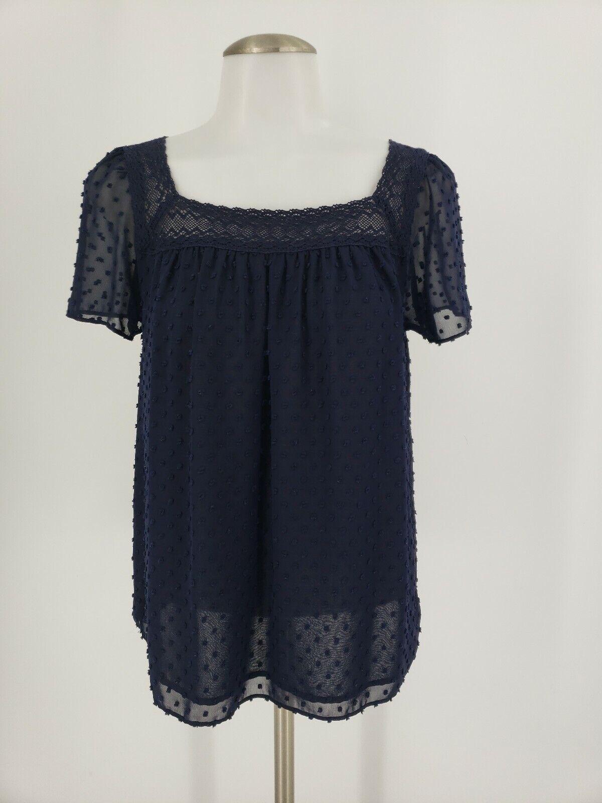 Womens J Crew Textured Dot Crochet Navy bluee Top Blouse 4