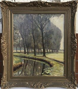 Impressionist-Alfred-Wiegmann-On-Bach-Running-Colony-North-Germany