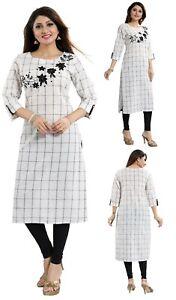 Women-Indian-Top-Kurti-Tunic-Kurta-Shirt-White-Cotton-Embroidery-Dress-MM219