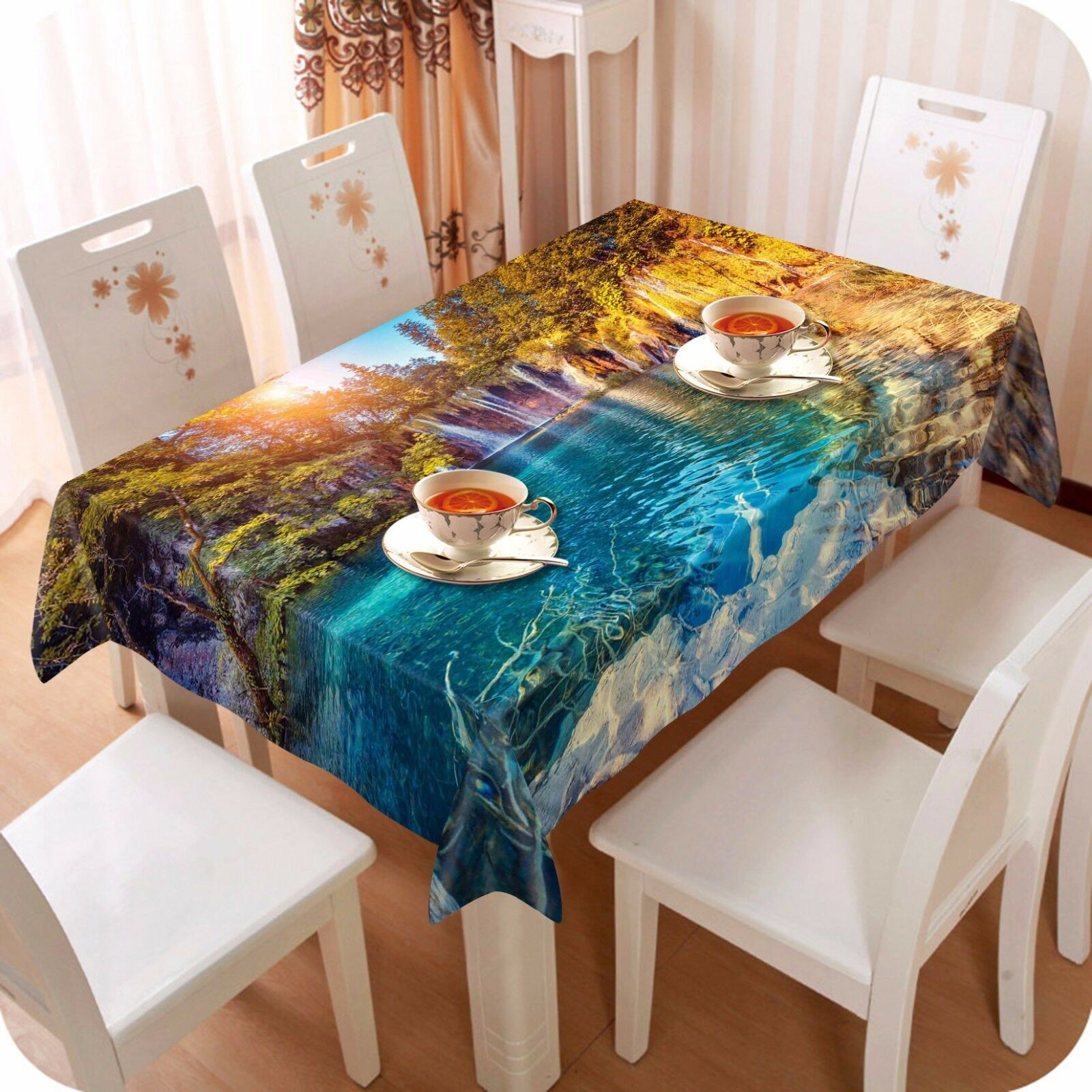 3D River 55 Nappe Table Cover Cloth fête d'anniversaire AJ papier peint Royaume-Uni Citron