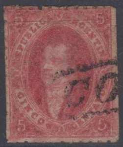 "Stamps Argentina 1864-67 Sc 11b Lake Major Plate Flaw ""blind Eye"" Cordoba Cancel"