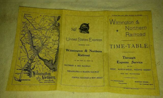 May 14th 1899 Wilmington & Northern Railroad timetable reproduction