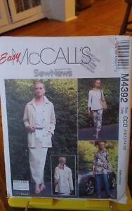 Oop-Easy-Sew-News-Mccalls-4392-misses-jacket-top-skirt-pants-sz-10-16-NEW
