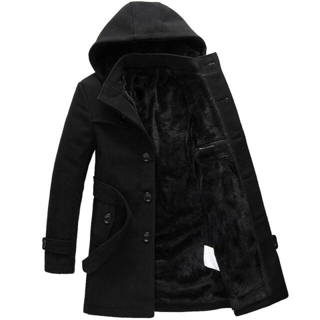 Mens trench coat warm lined hooded Detachable Casual winter Jacket peacoat parka