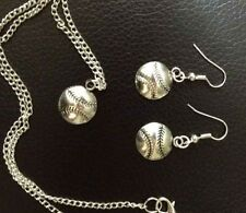 "16""-18"" Tibetan Silver Softball, Baseball Charm Necklace, Earrings, Sports Set"