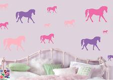 Caballos Rosa y púrpura-Paquete De 16 pegatinas de pared murales Pony Caballo ponis calcomanías