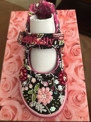 Lelli Kelly Pretty LK9435 Black Mary Janes Dolly Sparkle Hand Beaded Flowers NEW