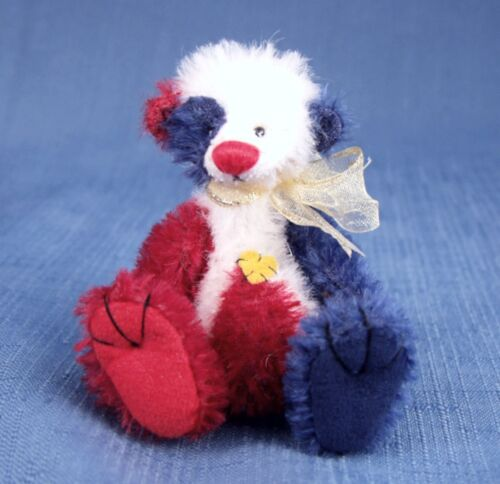 "DEB CANHAM /"" WHY FLUMP DUMPY/""RED//WHITE//BLUE MOHAIR MINIATURE BEAR 3 3//4/"" JOINTED"