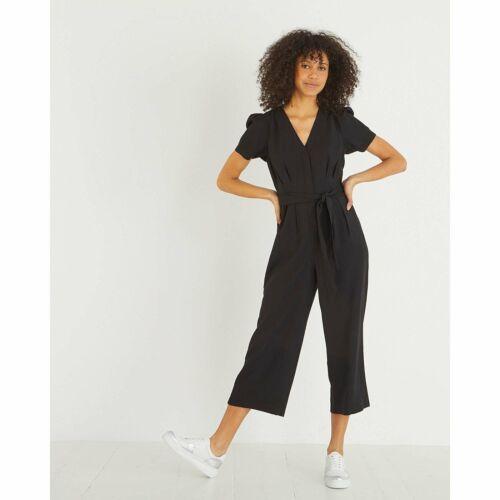 Oliver Bonas Women Puff Sleeve Black Tie Waist Jumpsuit