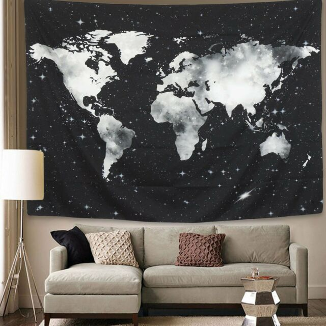 Bleum cade starry world map tapestry black white abstract painting starry world map tapestry blackwhite abstract painting wall hanging home decor gumiabroncs