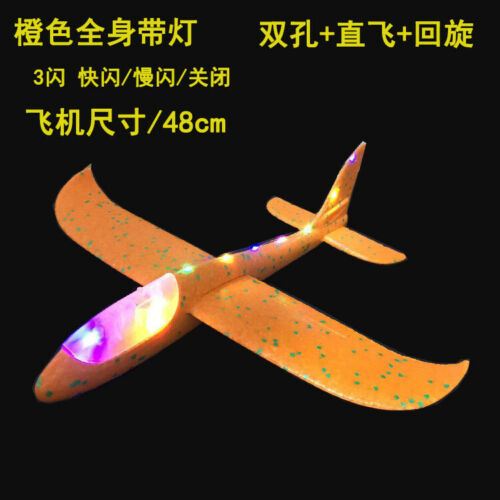 Hand Launch Throwing Glider 48cm EPP Foam Airplane Kids Education Toys LED Light