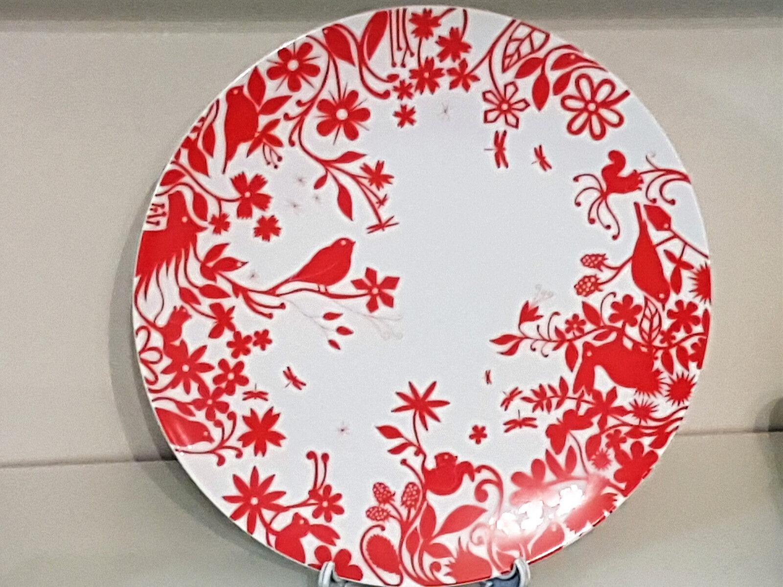 Set 2 lame Piatto Design Rosso animali di Authentics Exclusiv PORCELLANA