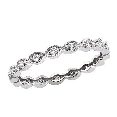 10K White Gold 1//4 carat Diamonds Vintage Anniversary Band Ring size 8