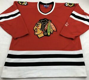 Chicago-Blackhawks-Starter-NHL-Hockey-Jersey-Embroidered-Red-L-Large-Vintage-90s