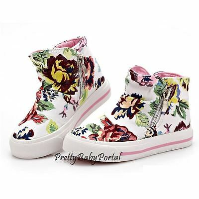 NEWFashion Kid'sGIRLS Floral Sports Casual Canvas Sneakers Boots Shoes