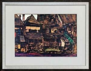 "Egon SCHIELE Lithograph #'ed Ltd. Ed. ""Houses in Krumau"" 1910 +FRAMING"