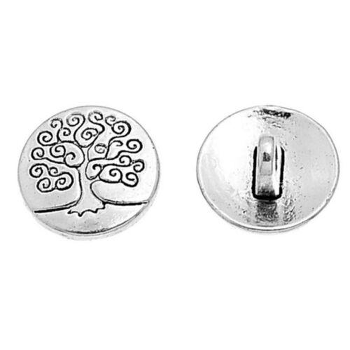 20pcs14.5mm Ton Argent Fleur Décorative les boutons en métal à coudre Fit Scrapbook