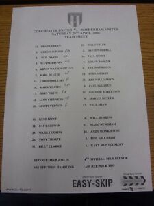 29042006 Teamsheet Colchester United v Rotherham United Folded match notes - <span itemprop=availableAtOrFrom>Birmingham, United Kingdom</span> - Returns accepted within 30 days after the item is delivered, if goods not as described. Buyer assumes responibilty for return proof of postage and costs. Most purchases from business s - Birmingham, United Kingdom