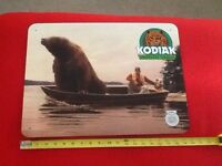 Rare Kodiak Snuff Grizzly Bear In A Boat With Man Fishing Metal Sign Tobacco NOS