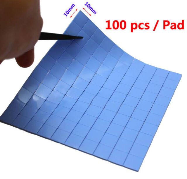 100x 10mmx10mmx0.5mm GPU CPU Heatsink Cooling Thermal Conductive Silicone Pad
