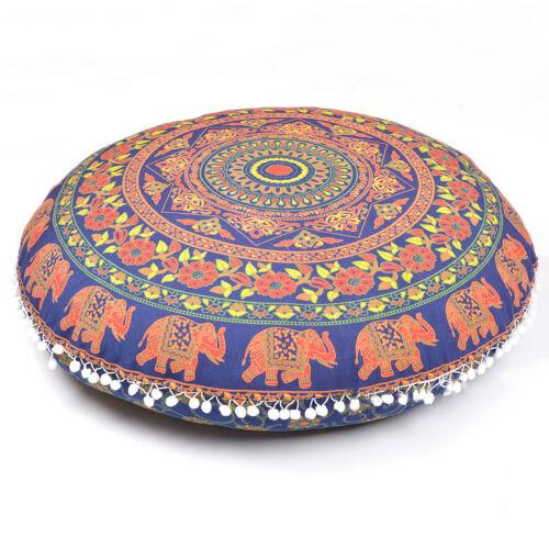 Blue Decorative Floor Cushion Pillow Mandala Cover Indian Peacock Round Pillow