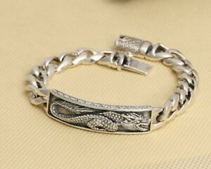 Men-039-s-Thailand-Dragon-Design-Bracelets-In-Pure-925-Sterling-Silver