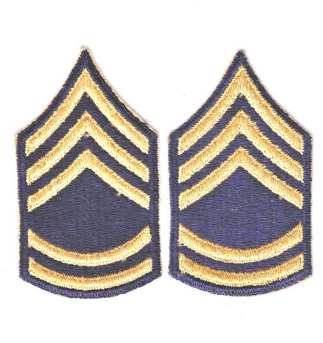 "2/"" Korean War era Army Rank Chevron: Sergeant First Class yellow on blue"
