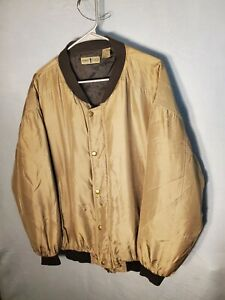 Vintage-Robert-Stock-Women-039-s-Size-Medium-100-Silk-Jacket-Zip-Up-Bomber-Quilted